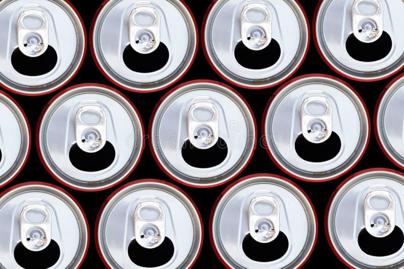 Bästa sikt för metalliska cans som återanvänder begrepp royaltyfri foto