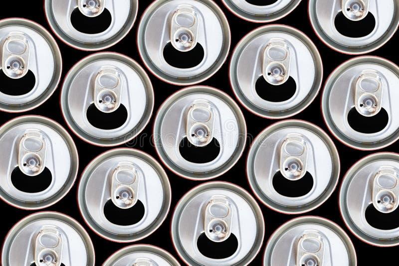 Bästa sikt för metalliska cans som återanvänder begrepp arkivbild