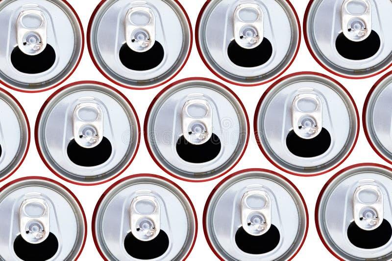Bästa sikt för metalliska cans som återanvänder begrepp arkivfoton