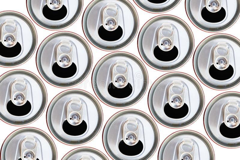 Bästa sikt för metalliska cans som återanvänder begrepp royaltyfri fotografi