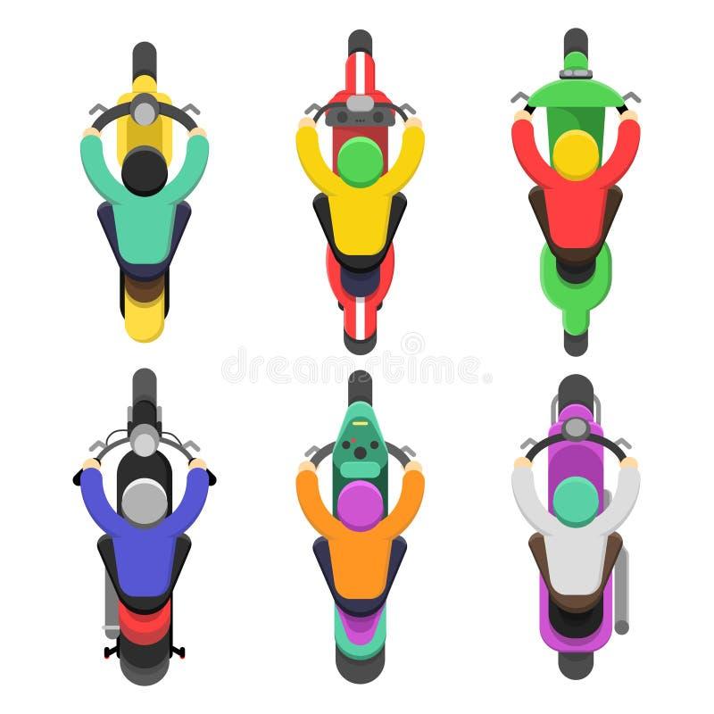 Bästa sikt för motorcykel Att överträffa av motorcykeln med chaufförer trafikerar plana illustrationer för vektor vektor illustrationer