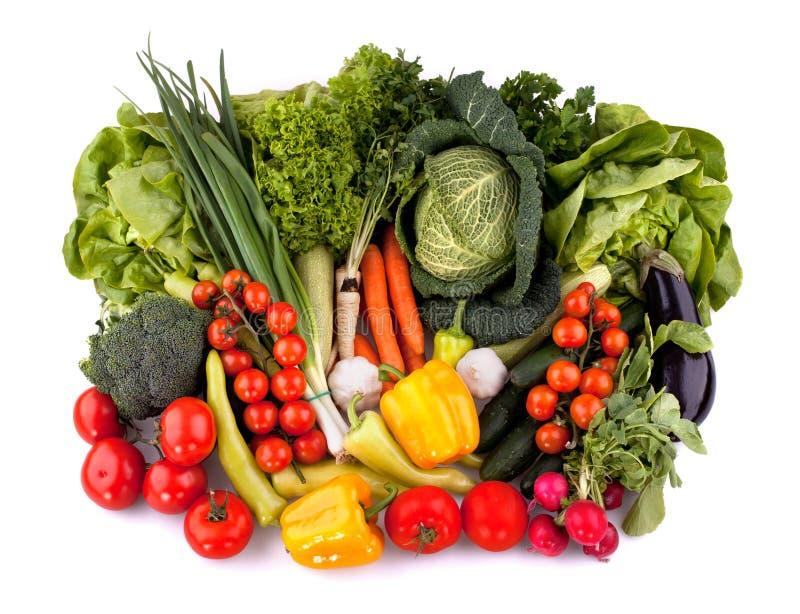 Bästa sikt för nya grönsaker arkivfoto