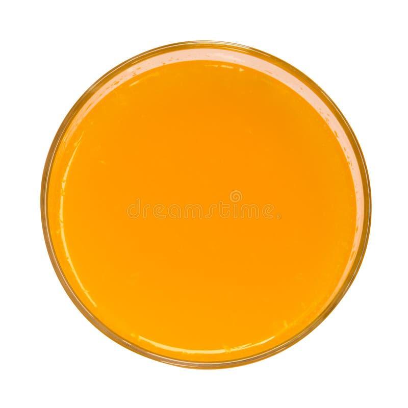 Bästa sikt för orange fruktsaft som isoleras på vit bakgrund arkivfoton