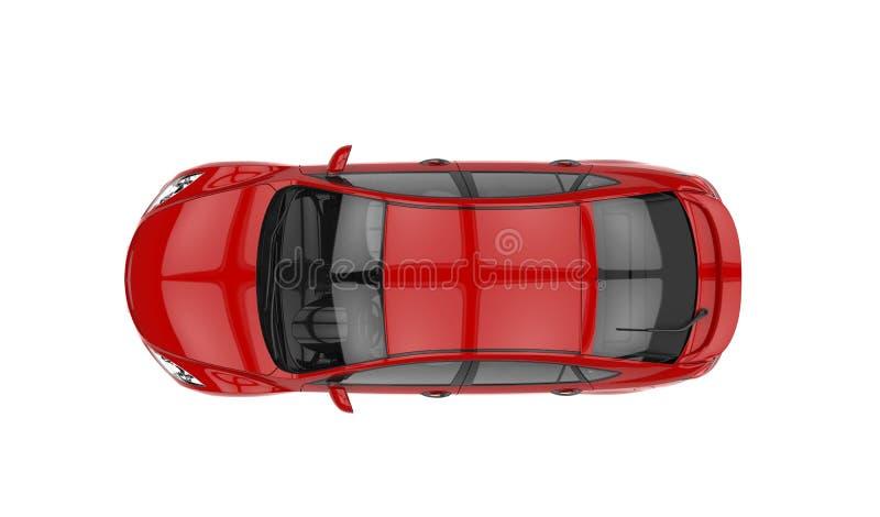 Bästa sikt för röd bil royaltyfri illustrationer