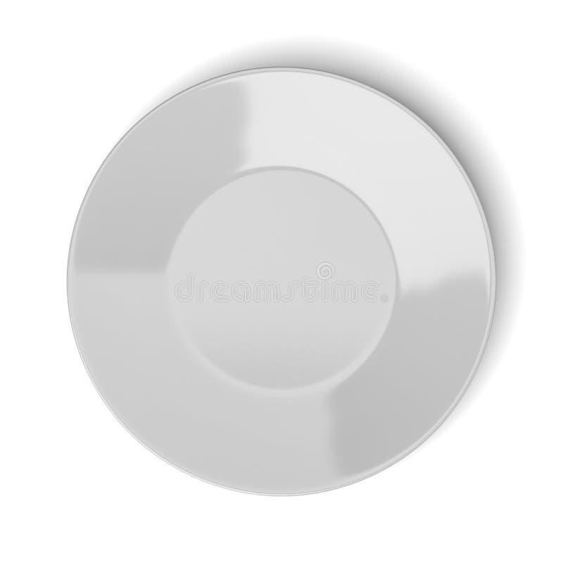 Bästa sikt för tom vit porslinplatta stock illustrationer