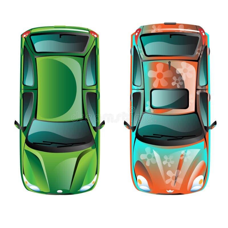 Bästa sikt för två bil royaltyfri illustrationer