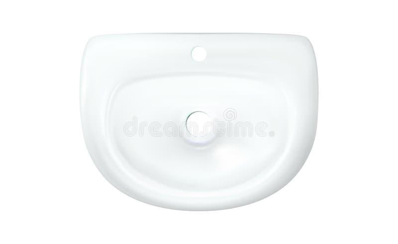 Bästa sikt för underbemannad realistisk vit vask Badrumtvättbalja utan klappet Modern tvättställ isolerad illustration f stock illustrationer