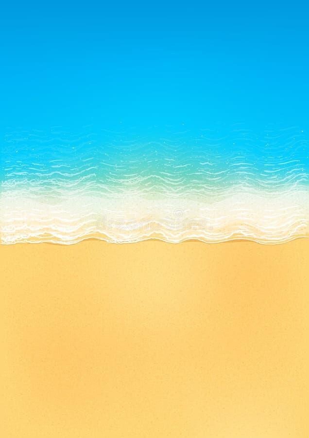 Bästa sikt för vektor av den lugna havstranden med blåttvågor, gul sand och vitt skum vektor illustrationer
