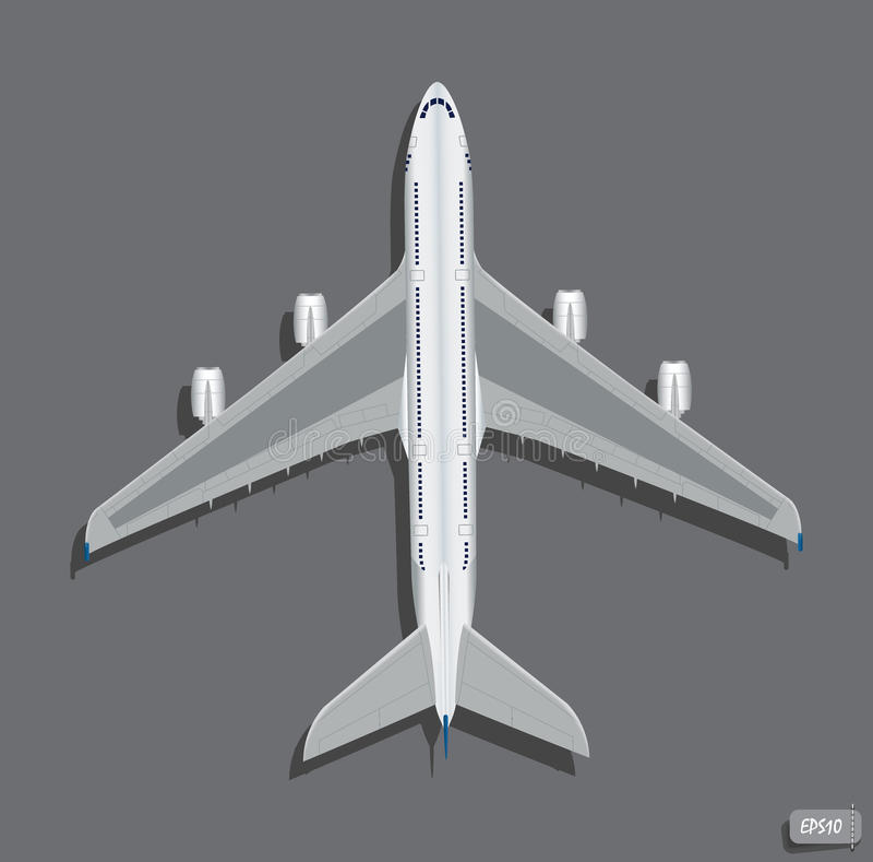 Bästa sikt för vektorflygplan royaltyfri illustrationer
