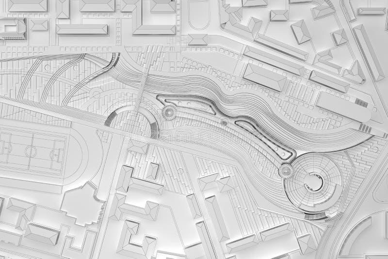 Bästa sikt för vit stad för plan modern stock illustrationer