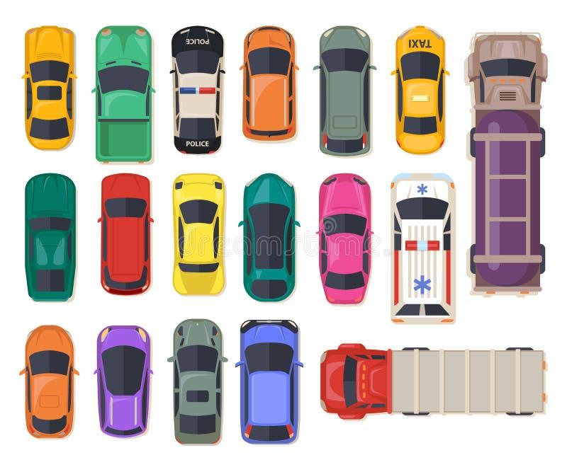 Bästa sikt på bilen, automatisktransport, polisfordon royaltyfri illustrationer