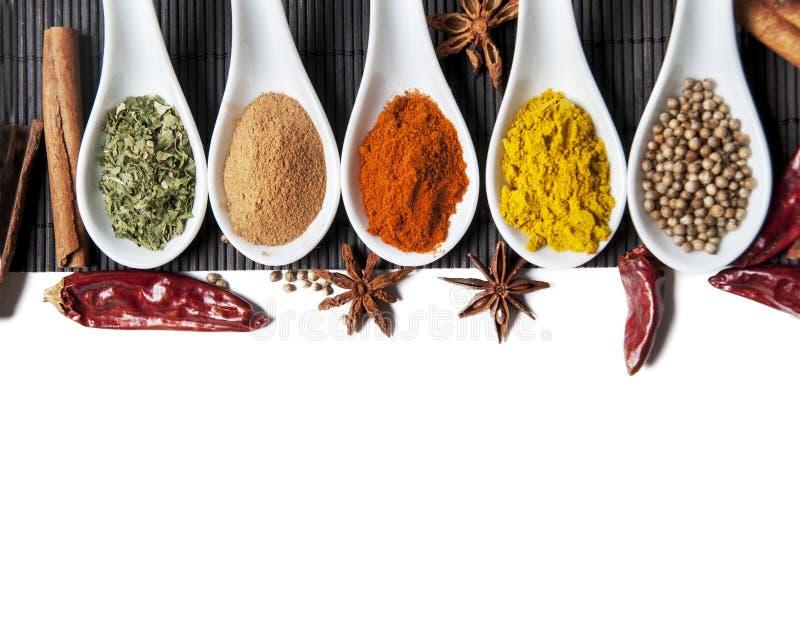 Bästa sikt på blandade torra färgrika kryddor som isoleras på vit bakgrund royaltyfri bild