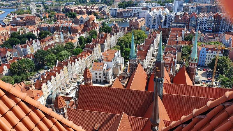 Bästa sikt på Gdansk, Polen royaltyfri foto