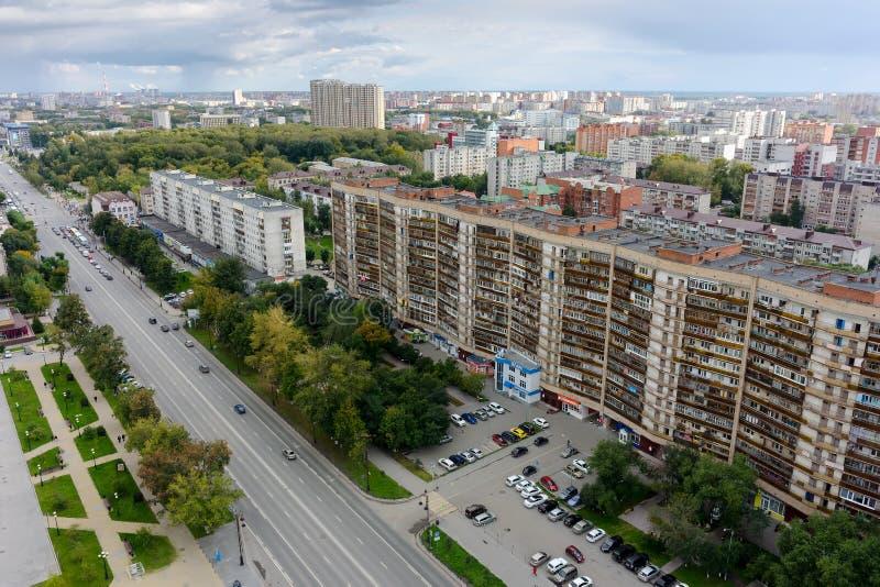 Bästa sikt på panoraman av staden - Tyumen, Ryssland arkivbilder