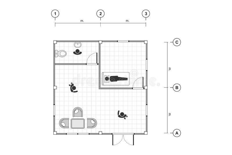 Bästa sikt, svartvit översiktsteckning, enkel lägenhet för hem- plan med linjen raster, vektorillustration royaltyfri illustrationer
