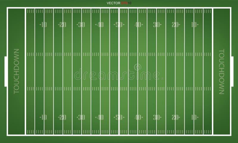 Bästa sikter av fältet för amerikansk fotboll vektor stock illustrationer
