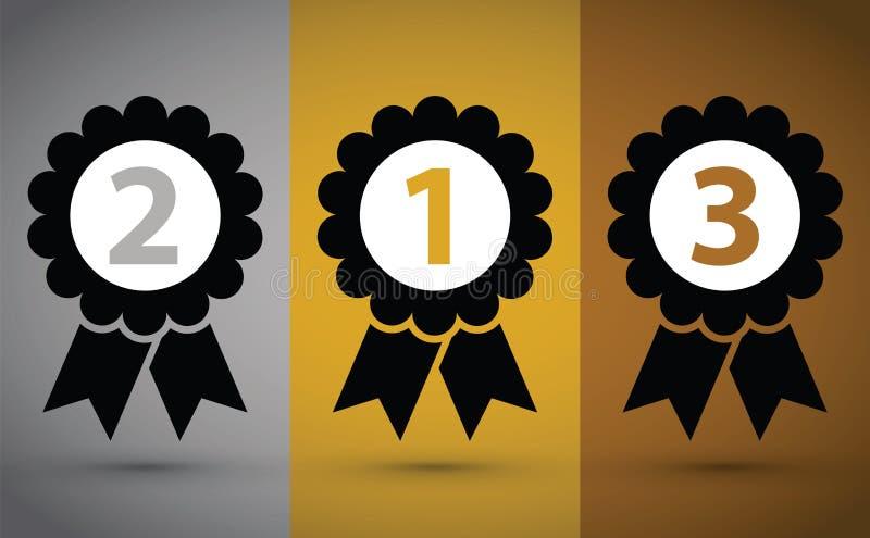 Bästa tre medaljer stock illustrationer