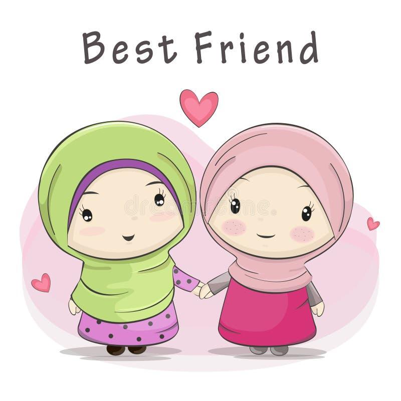 Bästa vän av tecknade filmen för två den gulliga muslimska flickor royaltyfri illustrationer