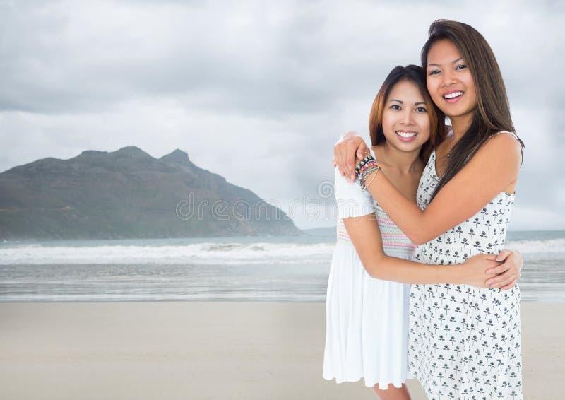 Bästa vän som kramar mot den oskarpa stranden arkivbild