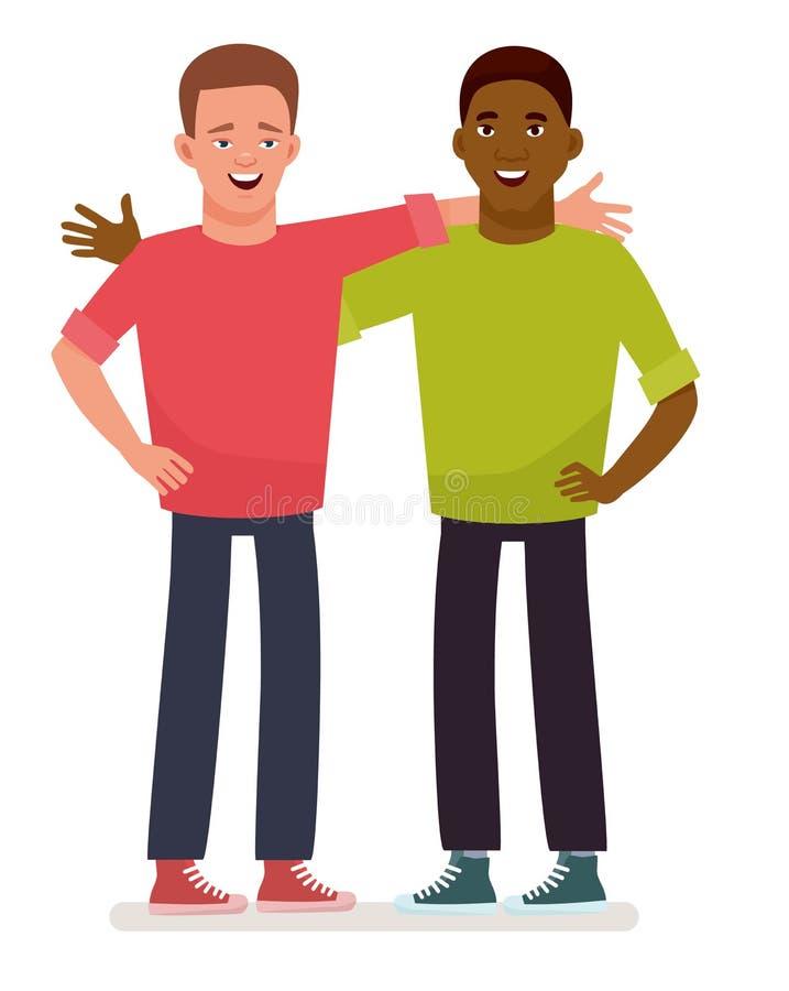 bästa vän två grabbar två Afrikansk amerikanfolk Begrepp av kamratskap Vektorillustration i tecknad filmstil royaltyfri illustrationer