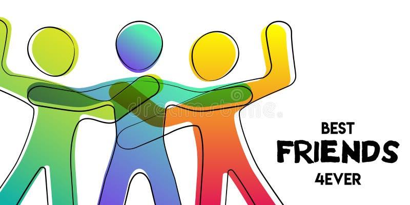 Bästa vänkort av det färgrika pinnediagramet folk vektor illustrationer