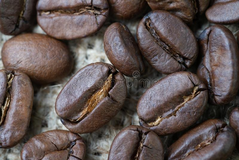 Bästa vald drink för affär för kaffebönor och dryckbegrepp som stängs upp av grillade kaffebönor på säckvävpåsebakgrund och att v royaltyfria bilder