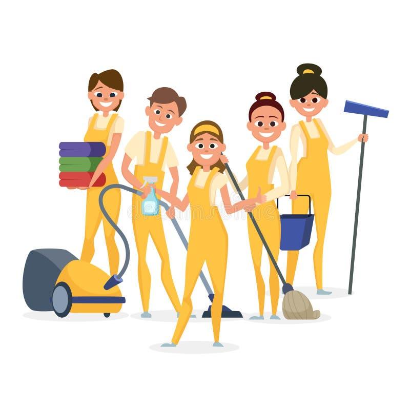 Bästa vektortecken för rengörande personal som isoleras på vit bakgrund stock illustrationer