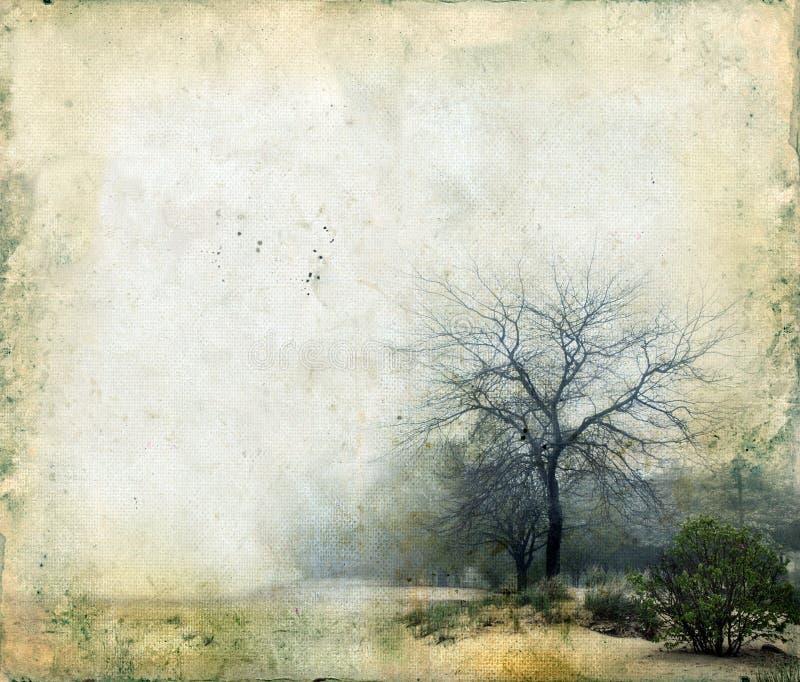 Bäume auf einem Grunge Hintergrund stockbild