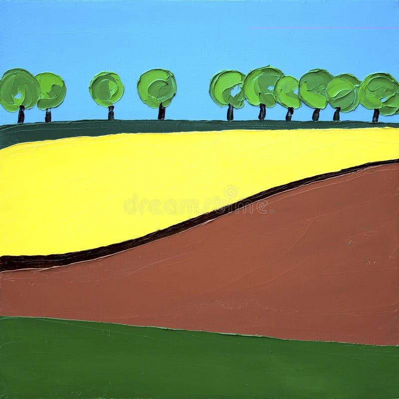 Bäume der Rapssamenfeldgelb-Wiese und des blauen Himmels gestalten - Ölgemäldeminimalismuszusammenfassung landschaftlich lizenzfreie stockbilder