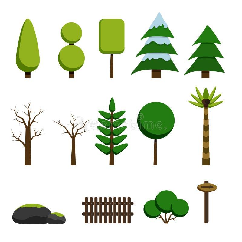 Bäume, Felsen und Spielelemente in der flachen Art lizenzfreie abbildung