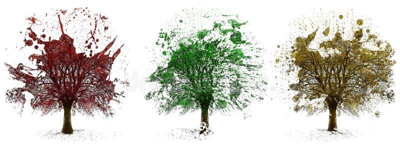 Bäume malten Illustration vektor abbildung