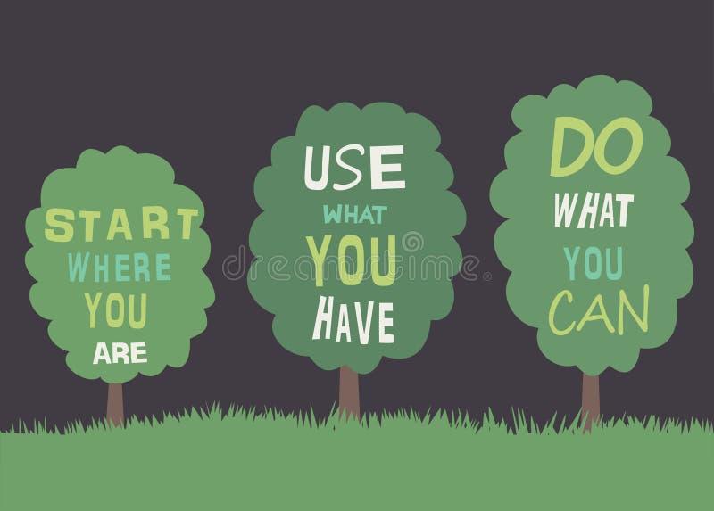 Bäume mit Zitaten. lizenzfreie abbildung