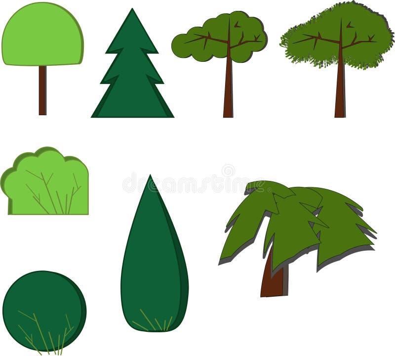 Bäume parken Waldentwurfsvektor vektor abbildung