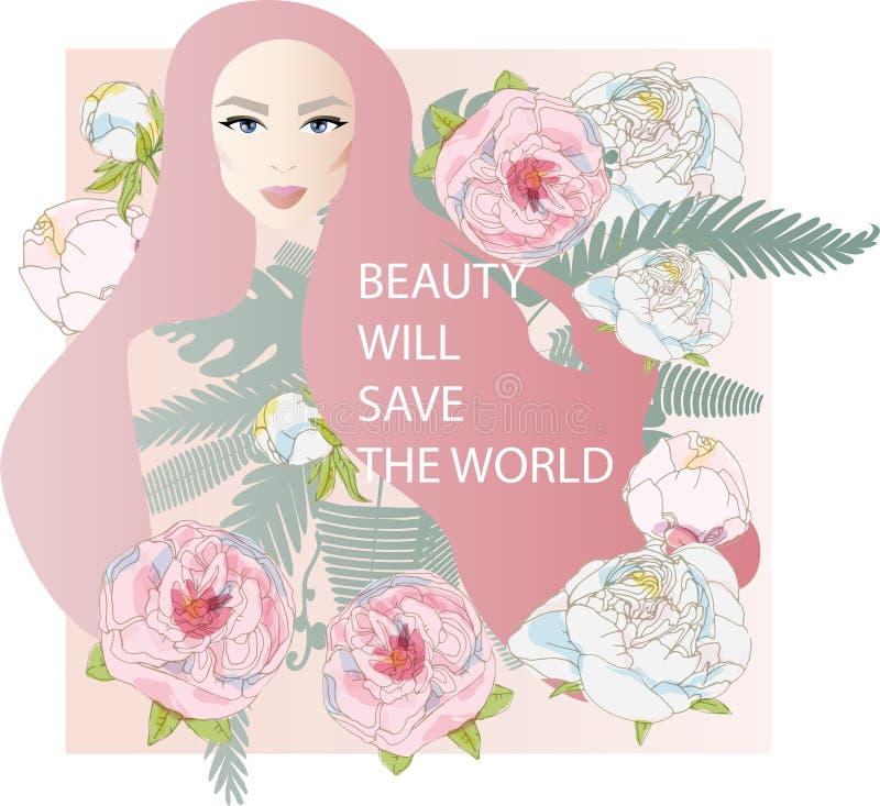 Bäume und Blumenpfingstrosen Hübsches Mädchen mit stilvollem Make-up Pinc lizenzfreie abbildung