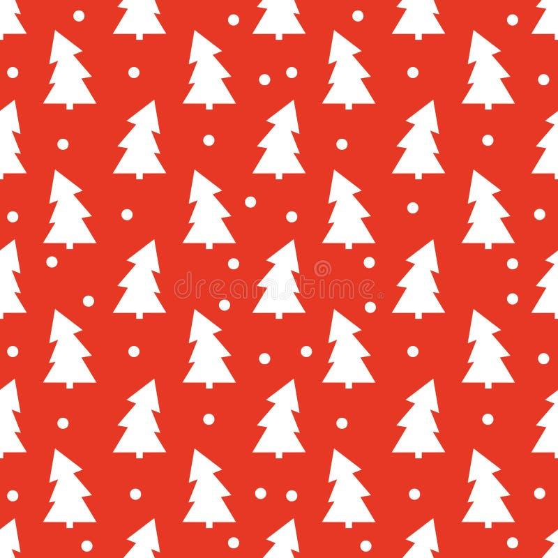 Bäume und Schnee der weißen Weihnacht auf rotem Hintergrund vektor abbildung