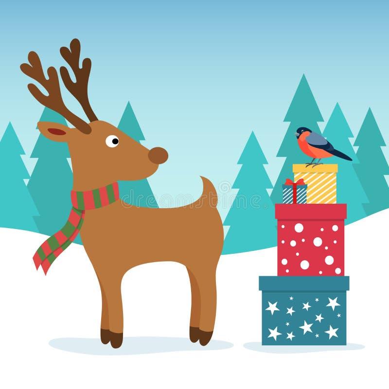 Bäume und Schnee Lustige Rotwild und Dompfaff mit farbigen Kästen des Geschenks Weihnachts- und des neuen Jahresdesigngruß vektor abbildung