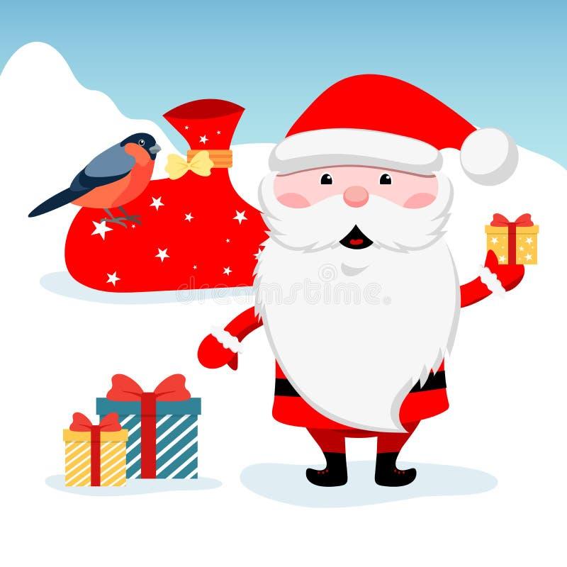 Bäume und Schnee Lustige Santa Claus mit farbigen Kästen des Geschenks Weihnachts- und des neuen Jahresdesigngrußkarten lizenzfreie abbildung