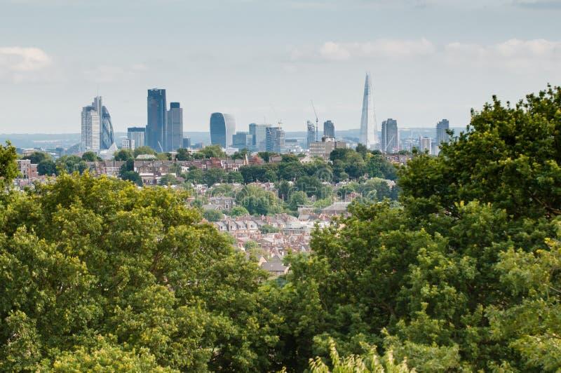 Bäume und Stadt von London lizenzfreies stockbild