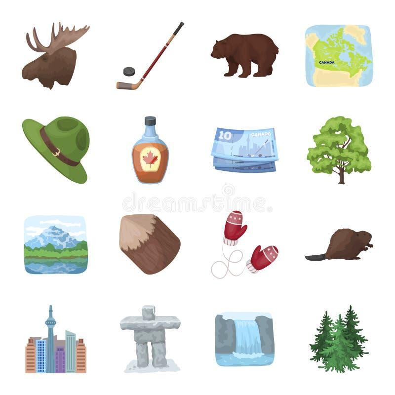 Bäver, sirap, lönn, hockey, sjöar, natur och andra symboler Kanada ställde in samlingssymboler i tecknad filmstilvektor royaltyfri illustrationer