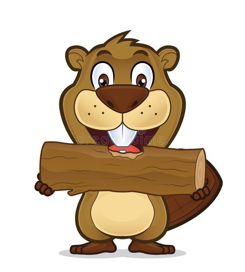 bäver som äter trä royaltyfri illustrationer
