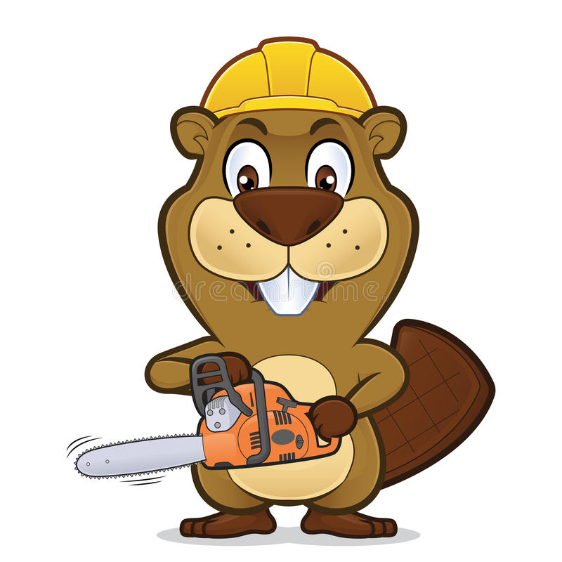 Bäver som bär en konstruktionshatt och innehav en chainsaw stock illustrationer