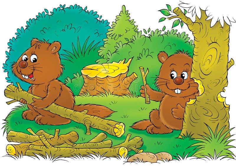 bäverarbete stock illustrationer