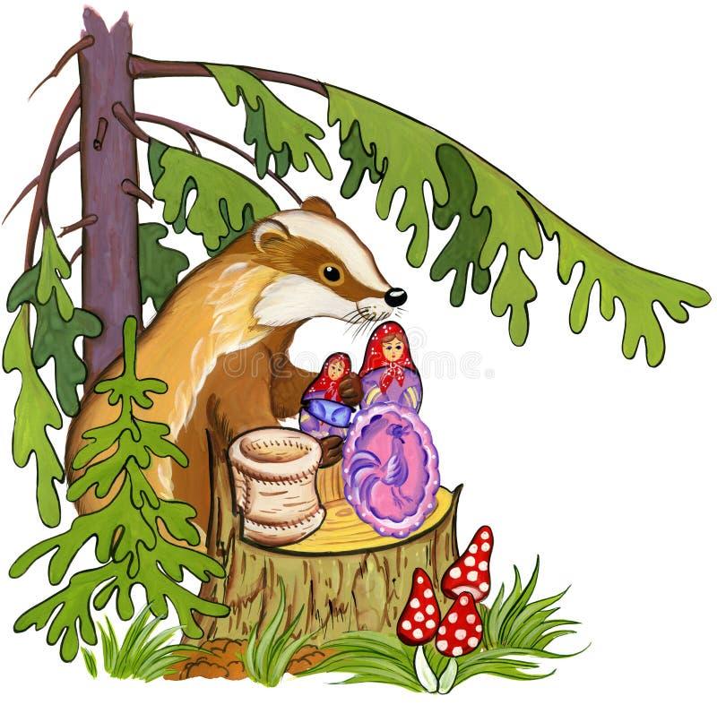 Bäverskinnet ger gåvor på en stump under ettträd i skogen, vattenfärgillustration royaltyfri illustrationer