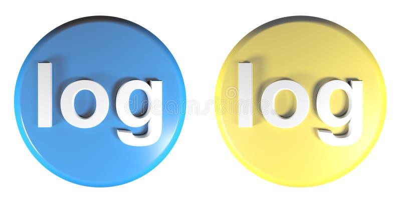 Błękit i żółty okrąg notujemy pchnięcie guziki - 3D renderingu ilustracja ilustracji