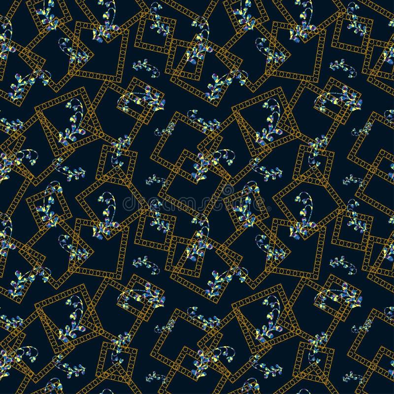 Błękit kwitnie z złotą abstrakt ramą nad zmrokiem - błękitny kolor ilustracji