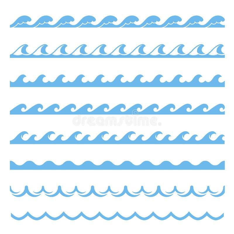 Błękita falowy denny bezszwowy wzór, morski element ilustracja wektor