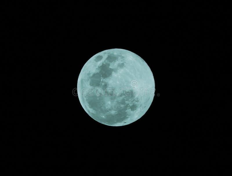 Błękitna księżyc w pełni na ciemnej nocy zdjęcia stock