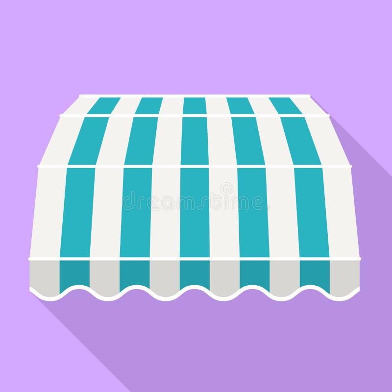 Błękitna pasiasta baldachim ikona, mieszkanie styl ilustracji