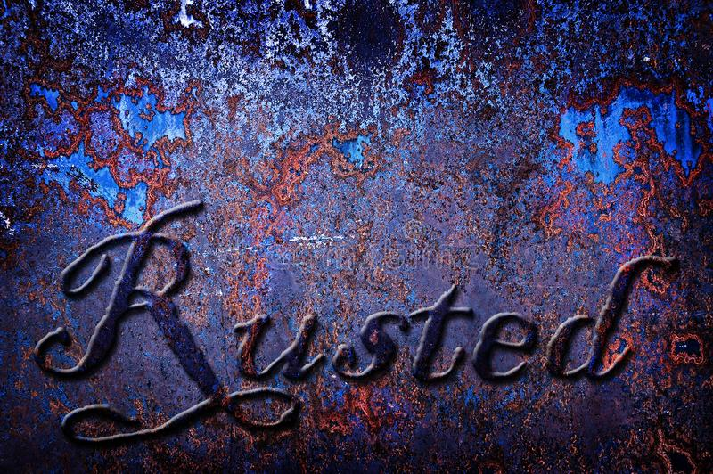 Błękitna Rdzewiejąca metalu tła tekstury Szorstka grafika zdjęcia royalty free