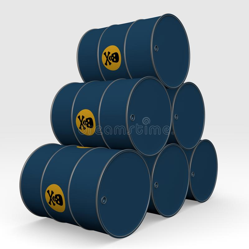 Błękitne baryłki toksyczni produkty - 3D ilustracja royalty ilustracja